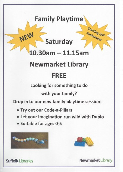 The #newmarketlibrary has a great family day on this morning #lovenkt #freeevent #newmarket why not come over and have a quick coffee after you've enjoyed the free fun? Make a whole morning of it  #familiesofnewmarket #newmarketbid <br>http://pic.twitter.com/h5DMcW9zZ0