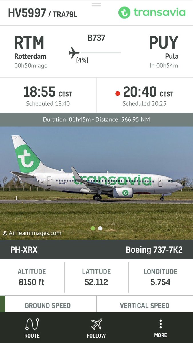 LIVE @transavia #HV5997 is diverting to Amsterdam due to hydraulic issue #radarbox https://t.co/vh76yrTkCZ