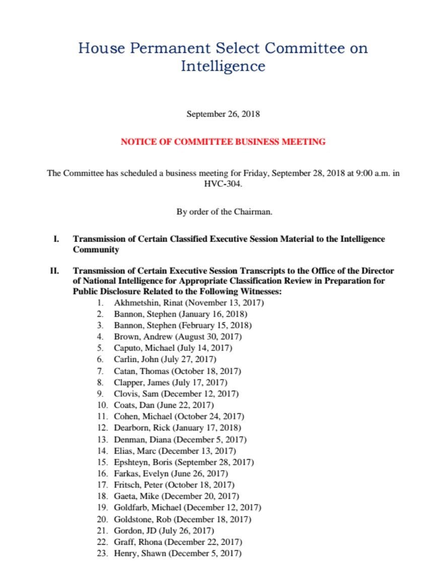 Well this is quite a list. Podesta, Henry, Gaeta, Clapper, Lynch, McCabe, Rhodes... we anxiously await your review @ODNIgov 📑🔍 https://www.documentcloud.org/documents/4951550-House-intel-transcripts-set-to-be-released.html…