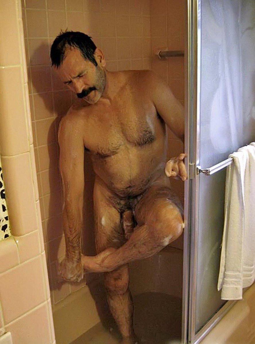 Naked cock old men in shower