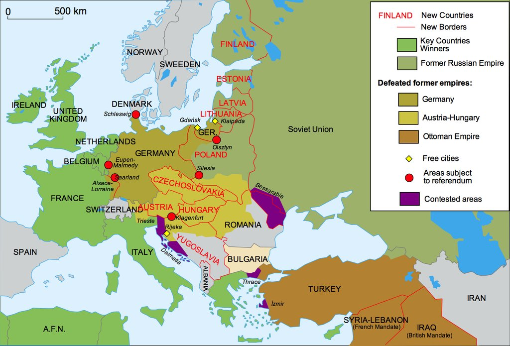 This #history #map shows how the borders in #Europe changed after #WWI. Source: reddit.com/r/MapPorn/comm…