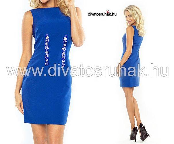 6e5a841684 Elegáns ujjatlan kék női ruha, fehér kalocsai hímzéssel. Most AKCIÓS ÁRON,