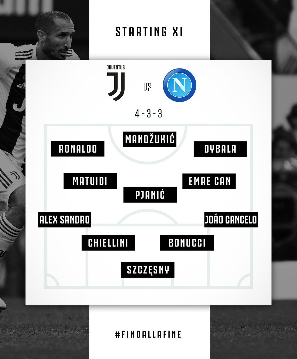 Susunan pemain Juventus dengan formasi 4-3-3 saat melawan Napoli (twitter @juventusfc)