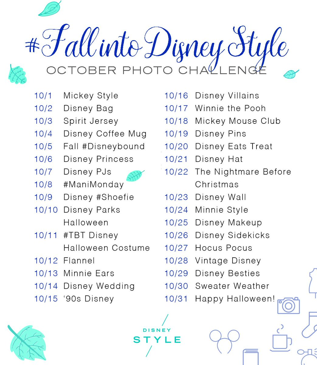 2bd09211ffd See the prompts   find out how you can participate  https   style.disney .com living 2018 09 29 fall-into-disney-style-instagram-photo-challenge-2018   …