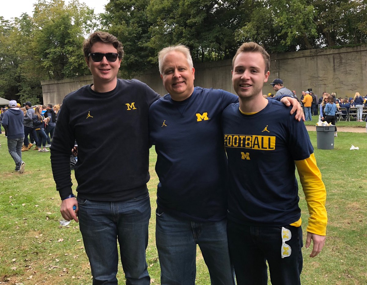 @JohnWKemp '84 , @KempWilliamJ '13 & @BobKemp62 '17 in Evanston getting ready for a great @UMichFootball victory! #GoBlue