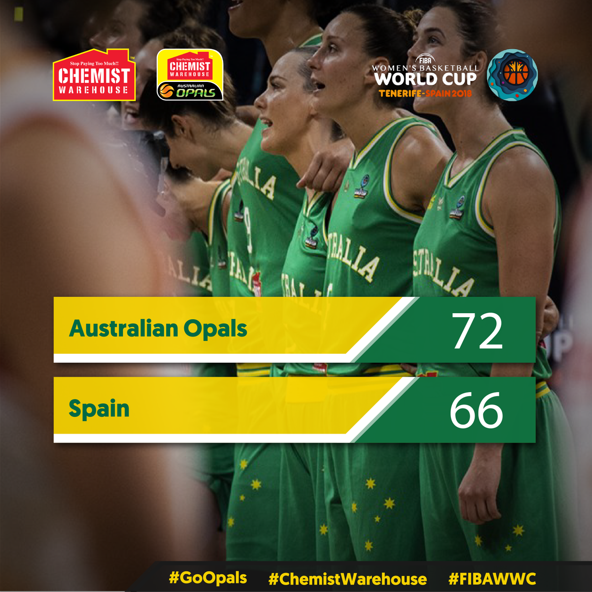 The  Opals are headed to the  gold medal ga#FIBAWWCme! 🇦🇺 prevail 72-66 on the back of a 22-8 final quarter!    had 33pts, 15rebs,  had 10pts and  added 9pts, 11rebs!   #GoOpals #ChemistWarehouse