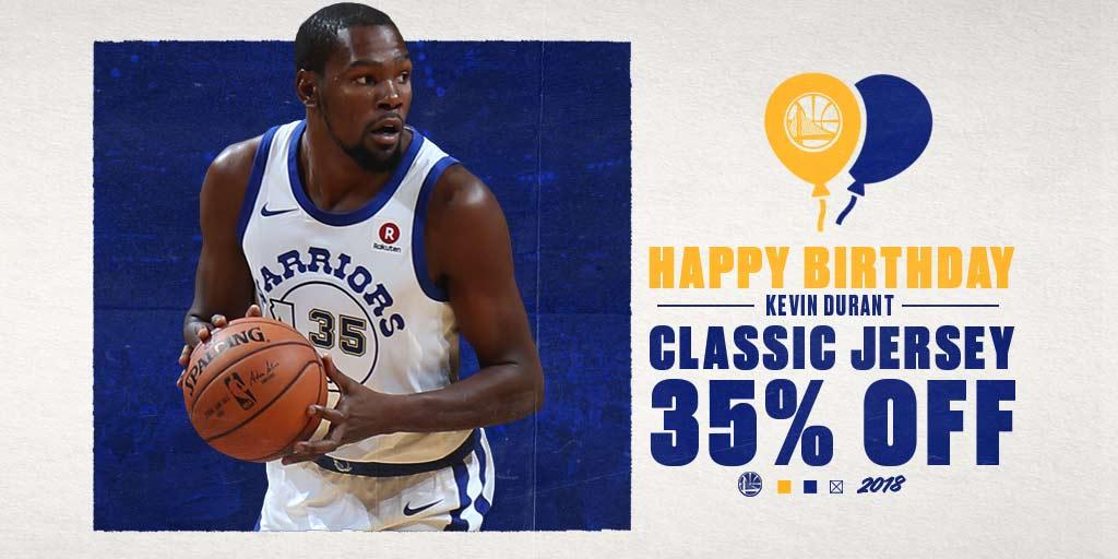 Happy Birthday @KDTrey5!!! Join us in celebrating the #MVPs Birthday🎉 with 35% OFF Mens & Youth Classic @warriors Jerseys🏀 🛒-–>bit.ly/KDBDAY35 #happybirthday #warriors #KD pic.twitter.com/BJC8H825sq