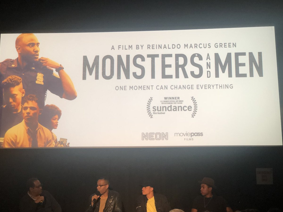 Moderating a panel at the @monstersmenfilm viewing in New York. #takeaknee
