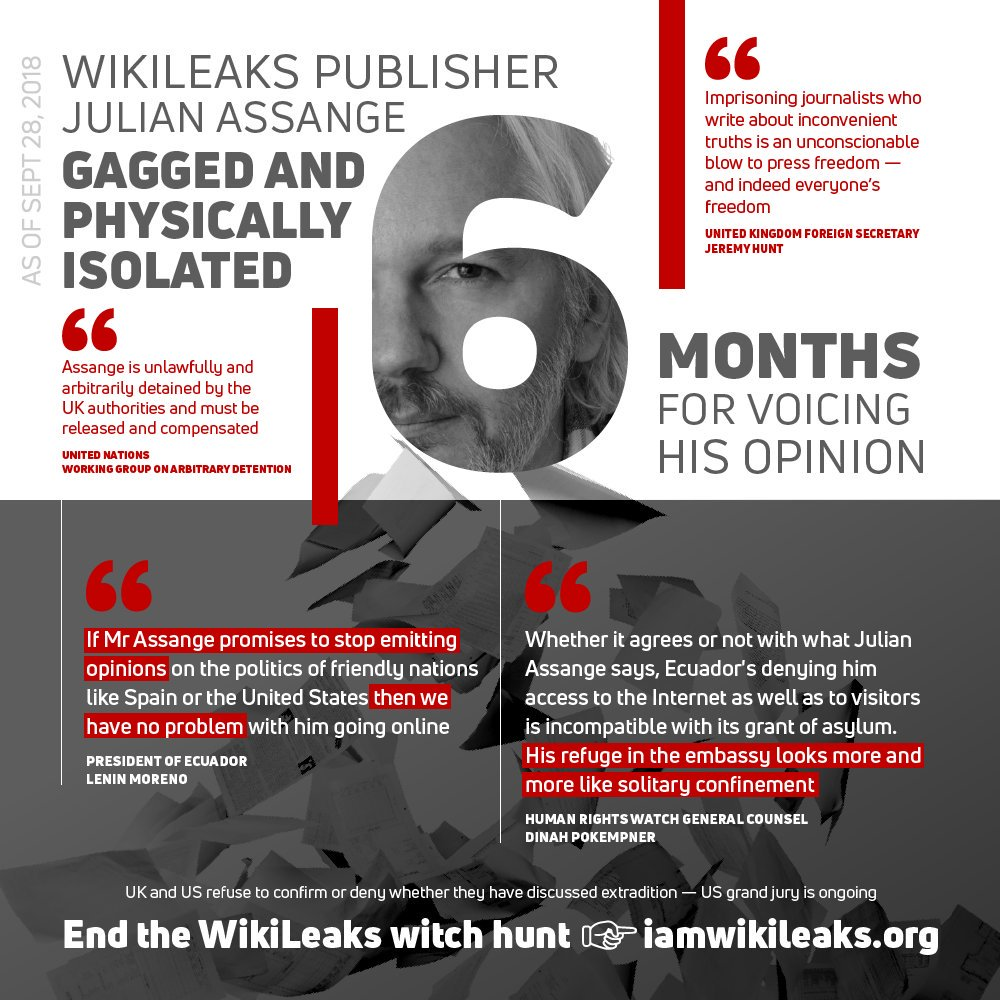 Julian Assanges refuge in the embassy looks more and more like solitary confinement—Human Rights Watch General Counsel @DinahPoKempner justice4assange.com