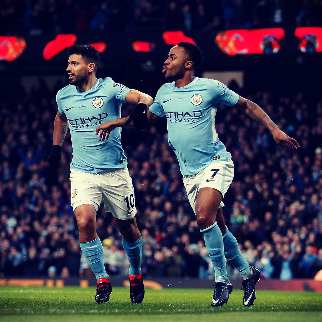 Image result for sergio aguero with raheem sterling