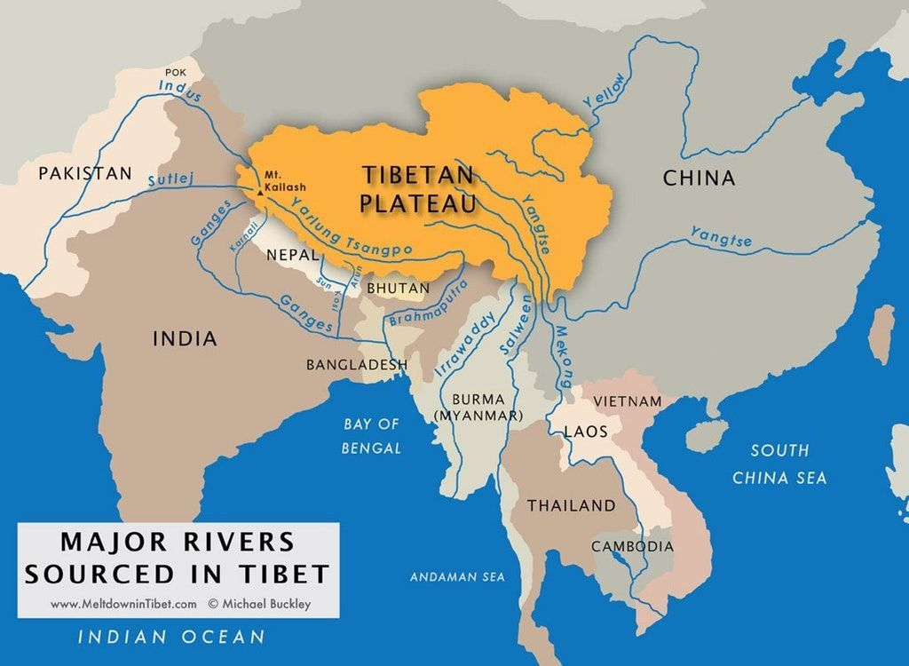 Since the #Himalayas are the highest #mountains on the planet its not surprising that #Tibet is the origin of many major #rivers as this #map shows. These rivers give live to billions of people! Super important bit of #geography! Source: buff.ly/2pRkrCm