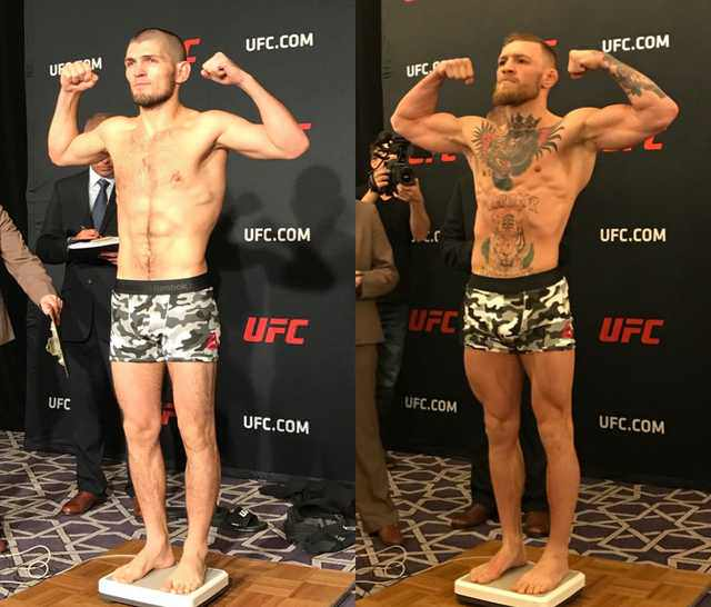 Nurmagomedov Mcgregor Size Comparison From Ufc 205 Weigh Ins Sherdog Forums Ufc Mma Boxing Discussion