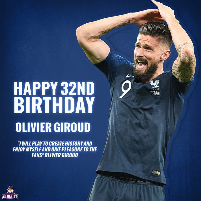 Happy 32nd Birthday to Chelsea\s Centre-Forward Olivier Giroud
