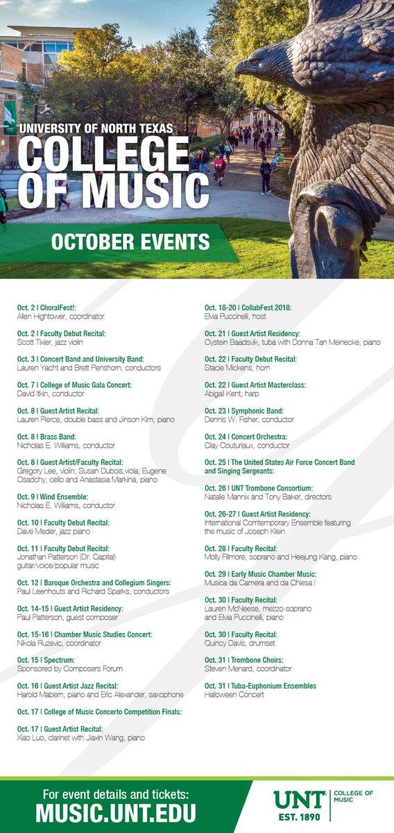 Unt College Of Music On Twitter October Events Untcom Calendar