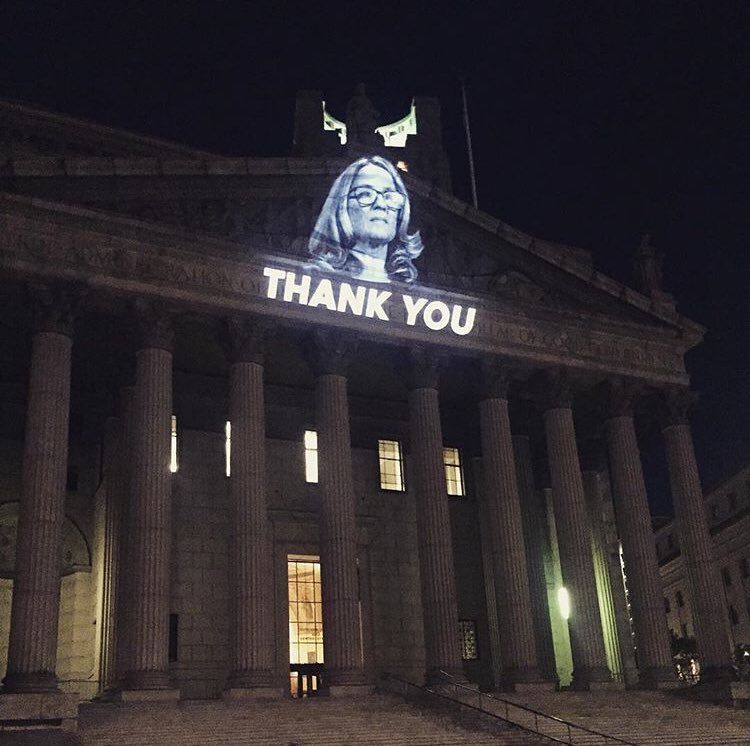 PROJECTED: On the New York State Supreme Court Building in Lower Manhattan on Friday night/Saturday morning by .