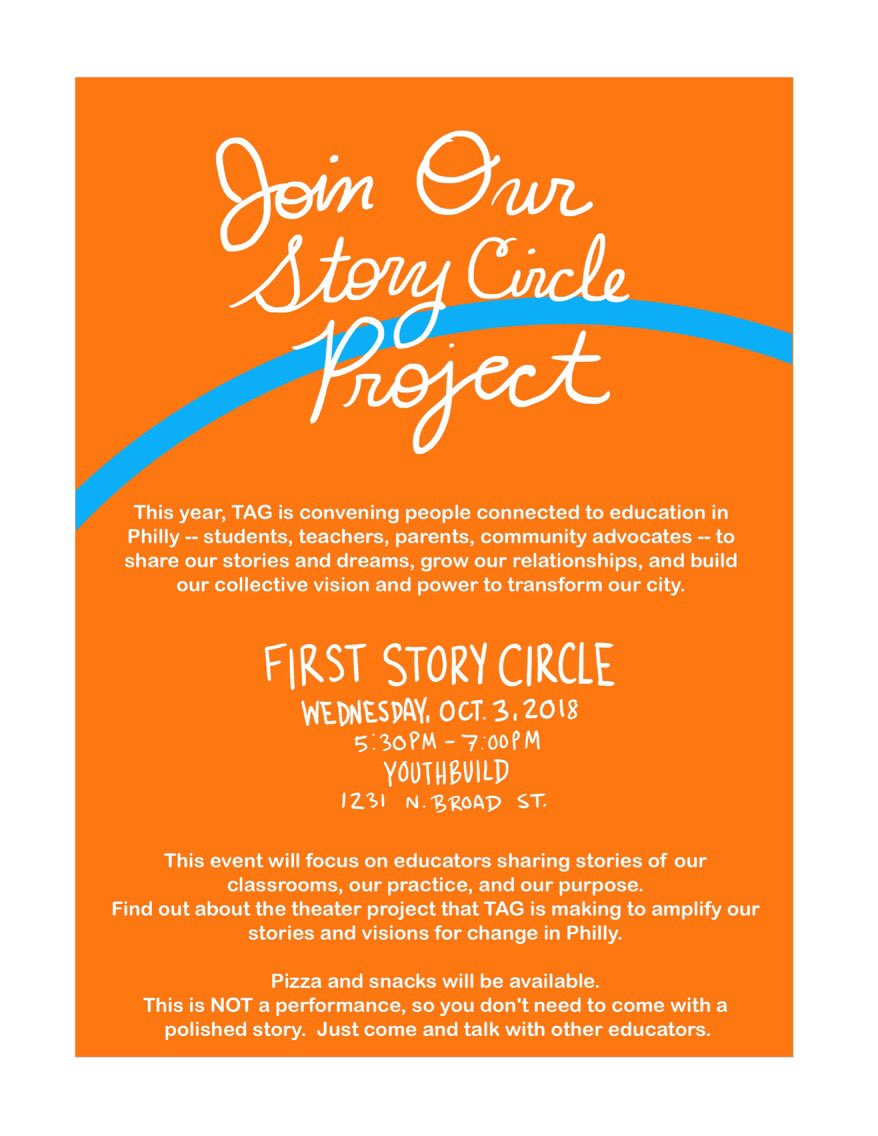 Hope you can join us this Wednesday, October 3, for our first Story Circle. #PHLed