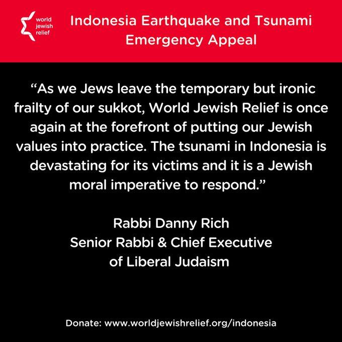 Komunitas Yahudi Galang Dana untuk Korban Gempa Palu-Donggala