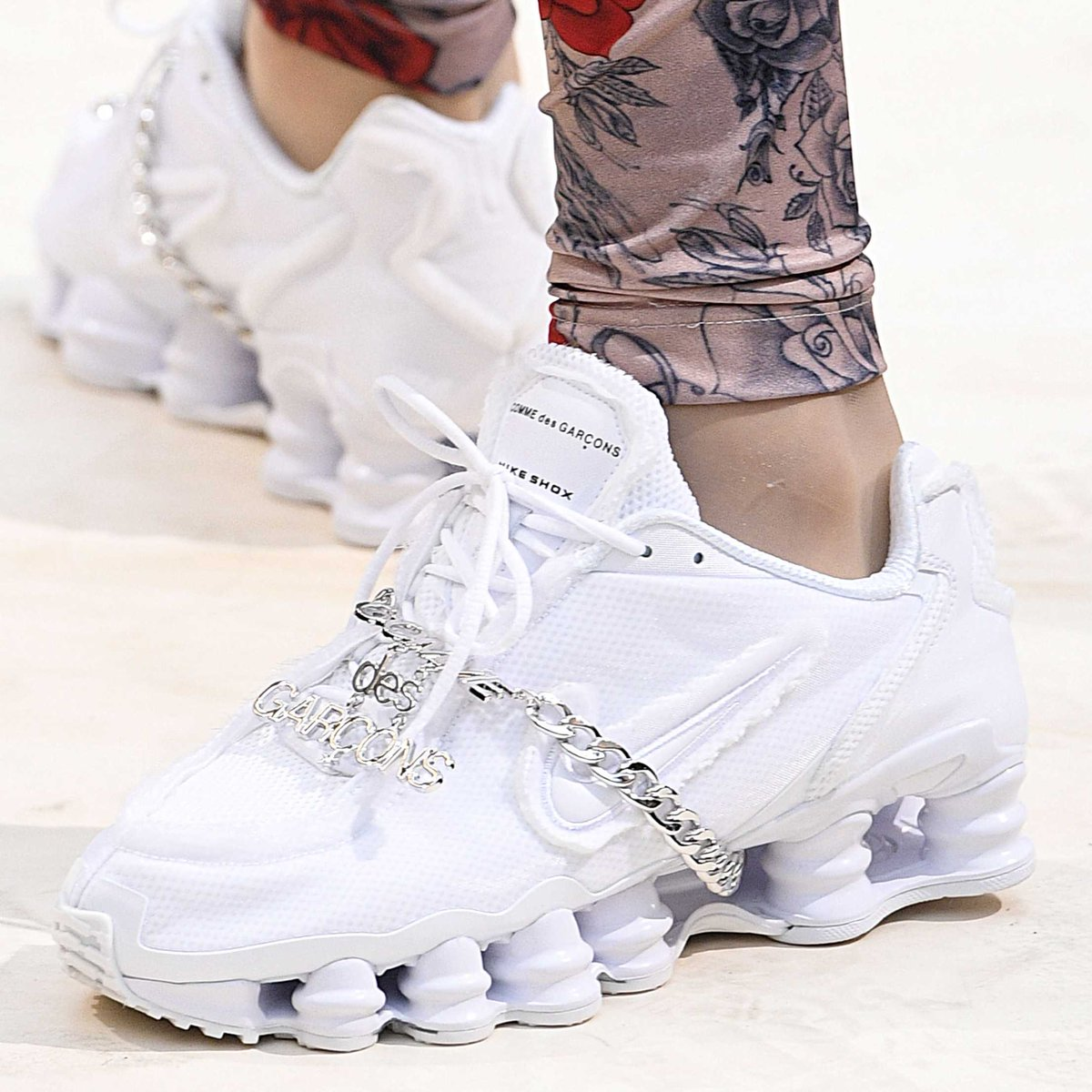 brand new 0caca 4944e comme des garcons x nike shox spotted on the runway during paris fashion  week victor virgile