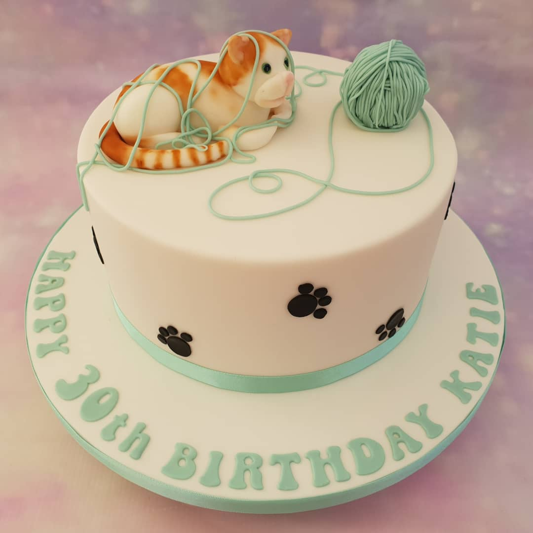 A Cute Cat Themed Birthday Cake With Hand Modelled Edible Birthdaycake