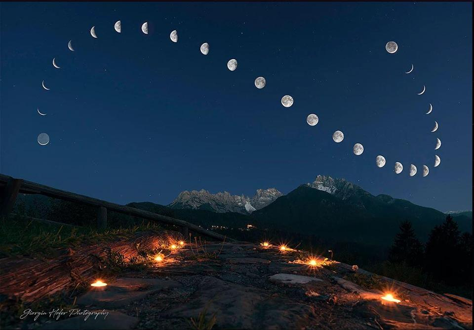 Montage van 28 foto's van de maan op exact dezelfde tijd en exact dezelfde positie #wow