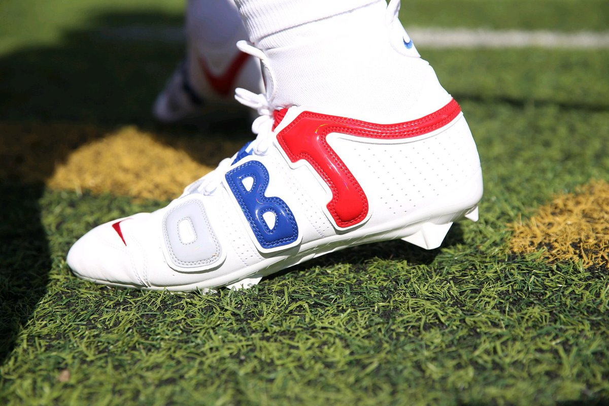 b1f36049617 solewatch obj wearing his latest pair of nike air more uptempo inspired  cleats thecheckdown