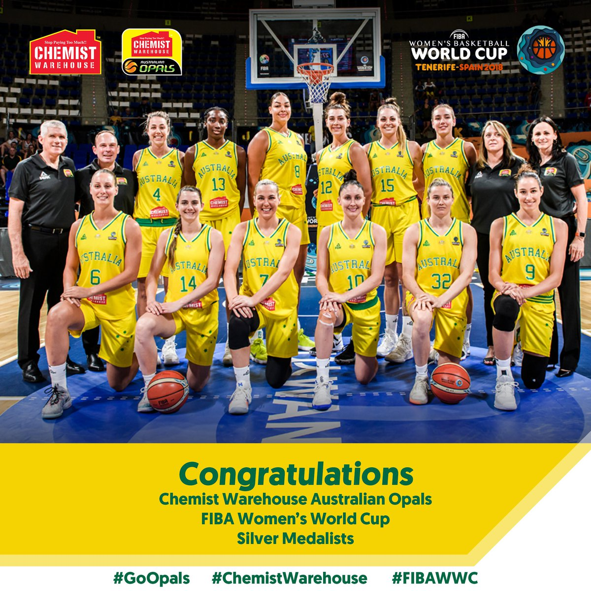 Not the result we wanted at the final hurdle but what an incredible  World Cup from the  Australian Opals! Be proud because the whole country is proud of you🥈!  🇦🇺 fall to 🇺🇸 56-73. Smith had 10pts, Magbegor 6 and Cambage had 7 & 14rebs.   #GoOpals #FIBAWWC