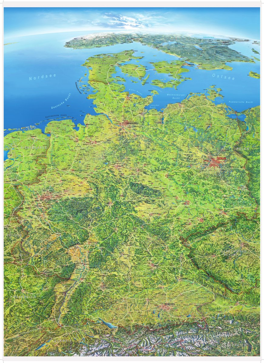 Map Of Germany Natural Resources.Simon Kuestenmacher On Twitter Pretty Map Of Germany Excellent