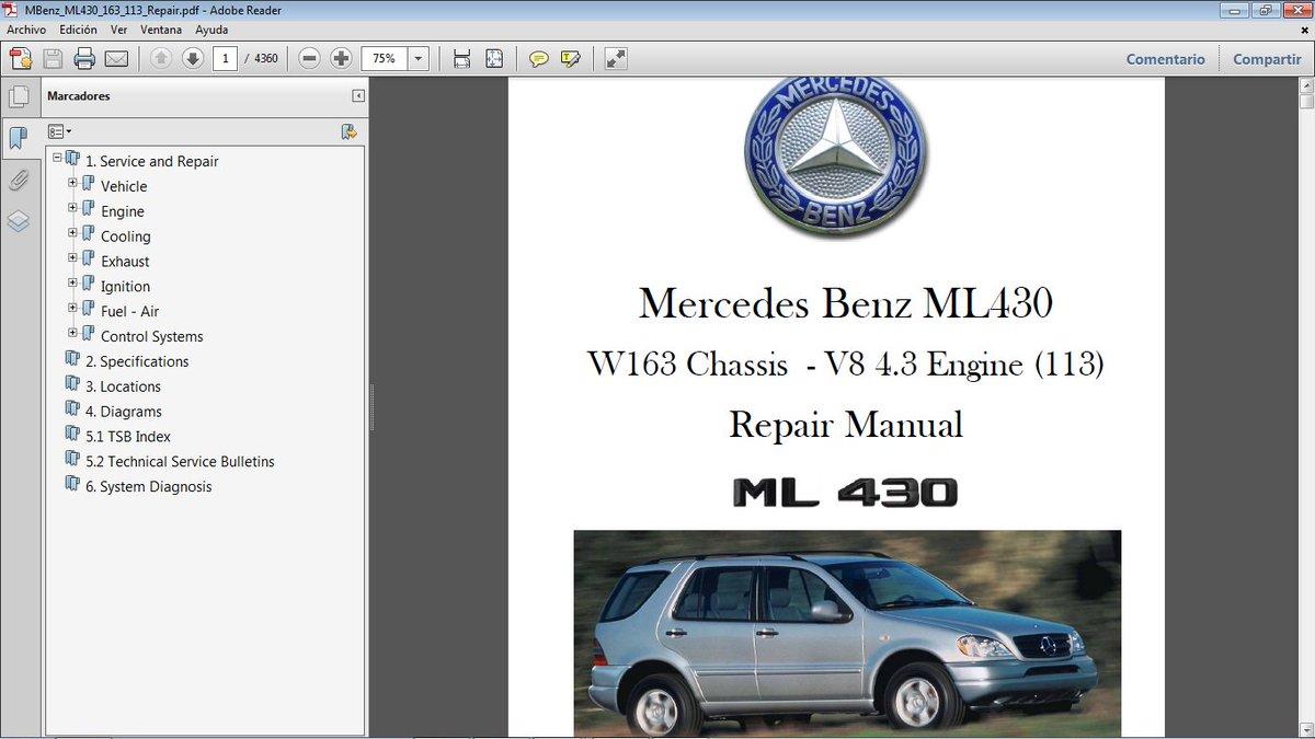 MERCEDES BENZ ML430 W163 con motor 113 gasolina V8 4.3. Manual de Taller en  formato