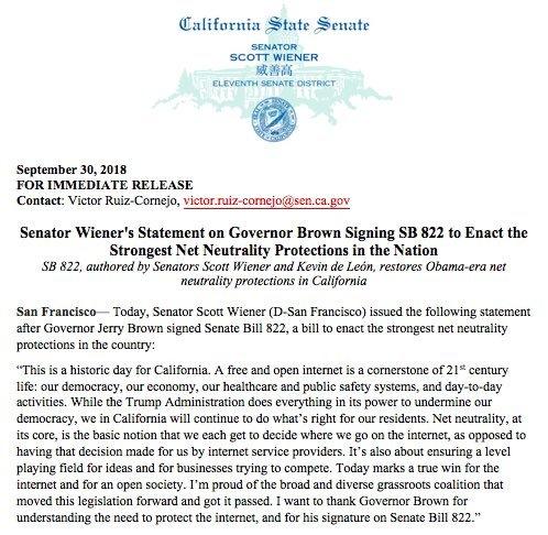 BREAKING: #NetNeutrality is now law in California.