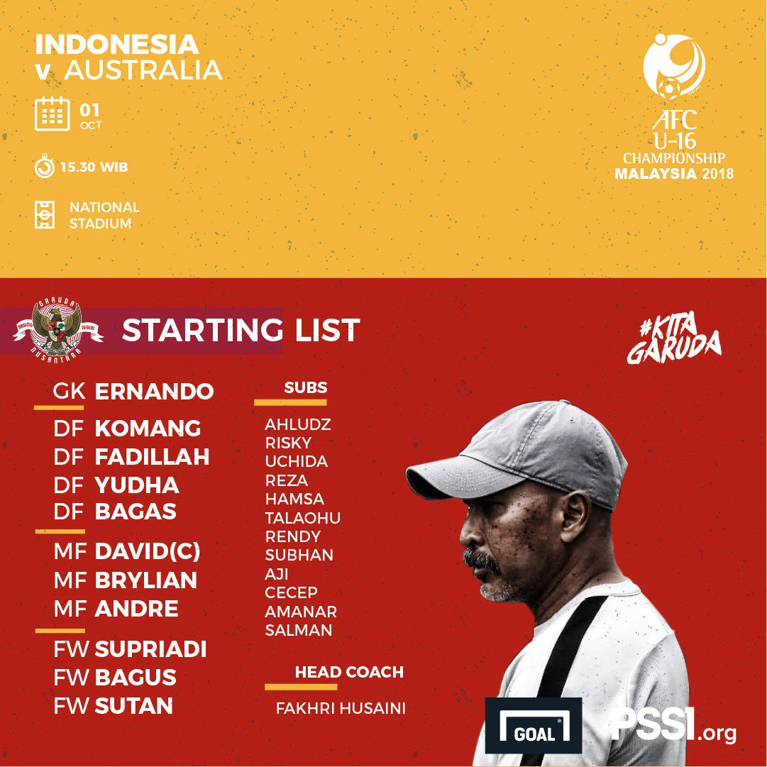 Starting XI Timnas Indonesia U16 vs Australia (twitter @pssi)