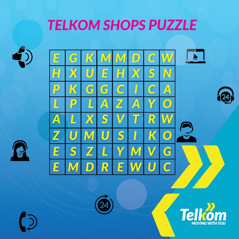 It's #CustomerServiceWeek! The week where we appreciate all our lovely customers! 😍 To start off, we want to give 20 people airtime worth 100 bob! 🙌🔥 All you have to do is figure out the 4 shops in the puzzle. 20 random winners to be selected 😎 Let's goooooo!