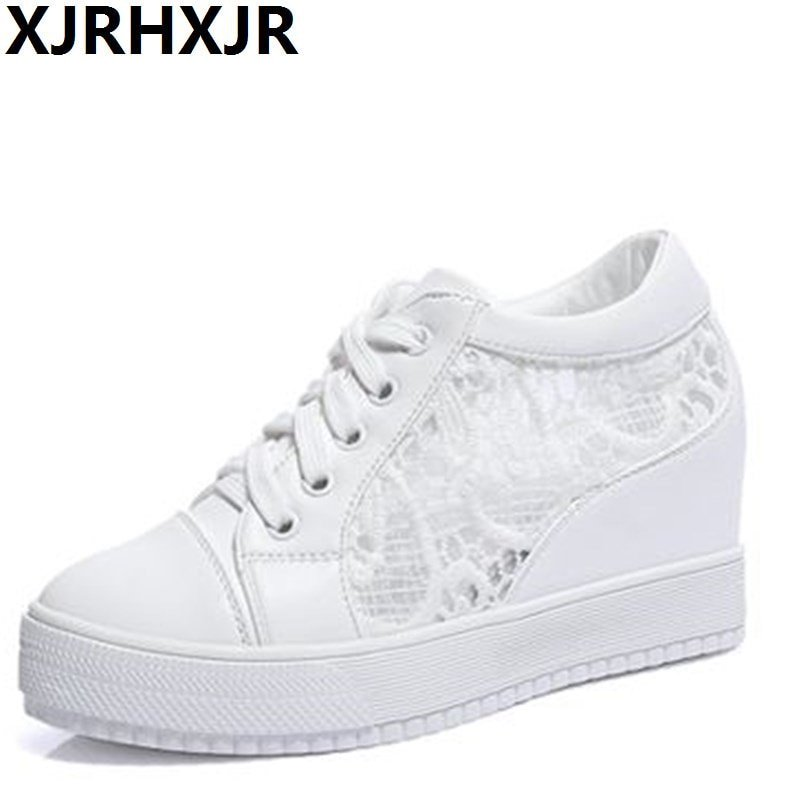 size 40 e2fd3 c17cc XJRHXJR 8CM Hidden Heels Wedges Lace Up Casual Shoes Woman Fashion White  Black Breath Platform Height Check here https   bit.ly 2y0RtnF  shoes   womensshoes ...