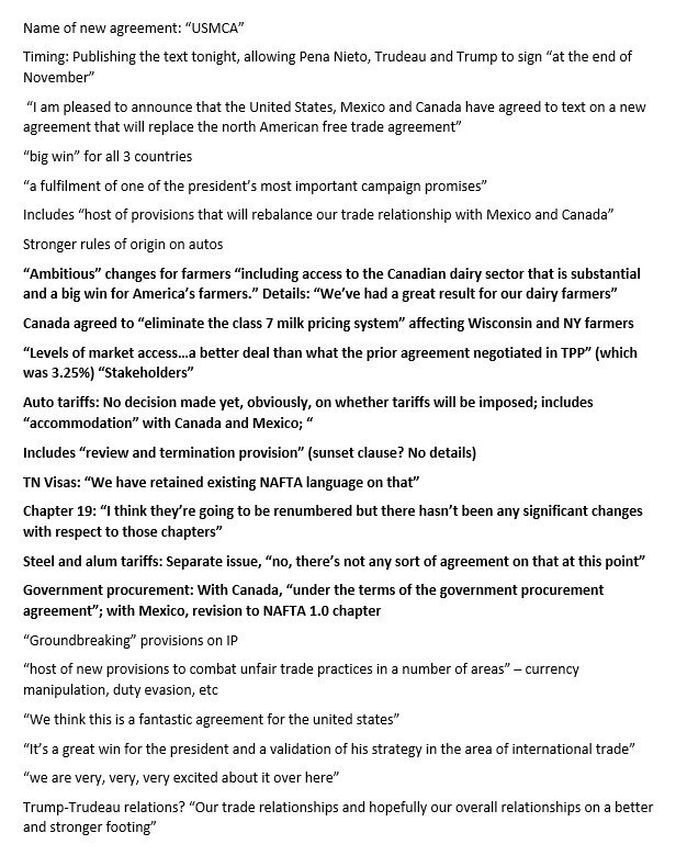 Daniel Dale On Twitter Here Are Details Of The Nafta Agreement