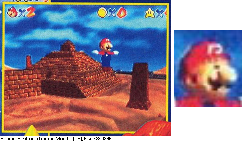 Beta screenshot of Shifting Sand Land in Super Mario 64 from