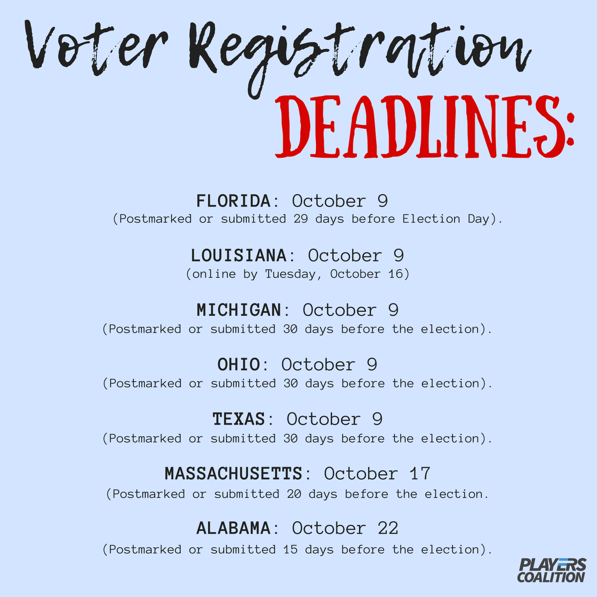 Deadlines are coming up. Are you registered? Are you sure? Head over to AthleteVote.com to check.