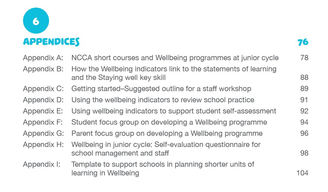 The Wellbeing Guidelines Contain 9 Appendices