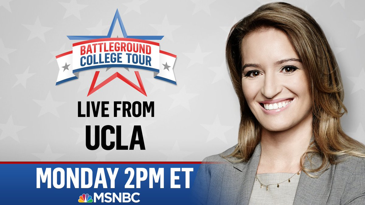 With 1 month to Election Day, @KatyTurNBC is going on #BattlegroundCollegeTour each day this week at 2 p.m. ET:  -Monday: @UCLA  -Tuesday: @unevadareno  -Wednesday: @LifeAtPurdue  -Thursday: @CAU  -Friday: @USouthFlorida
