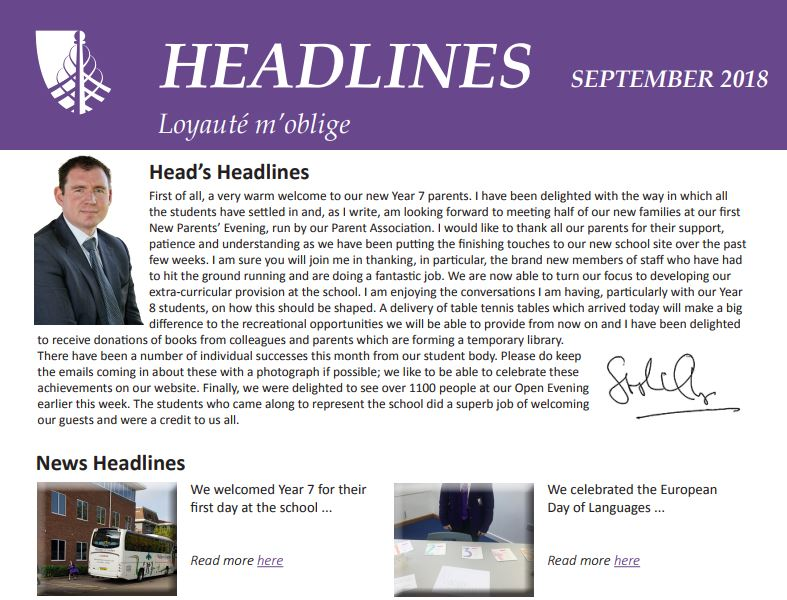Want to catch up with school news from September? Our monthly newsletter, Headlines, is available to download here: https://t.co/6zJLcpRsfw https://t.co/OQrX20te7L