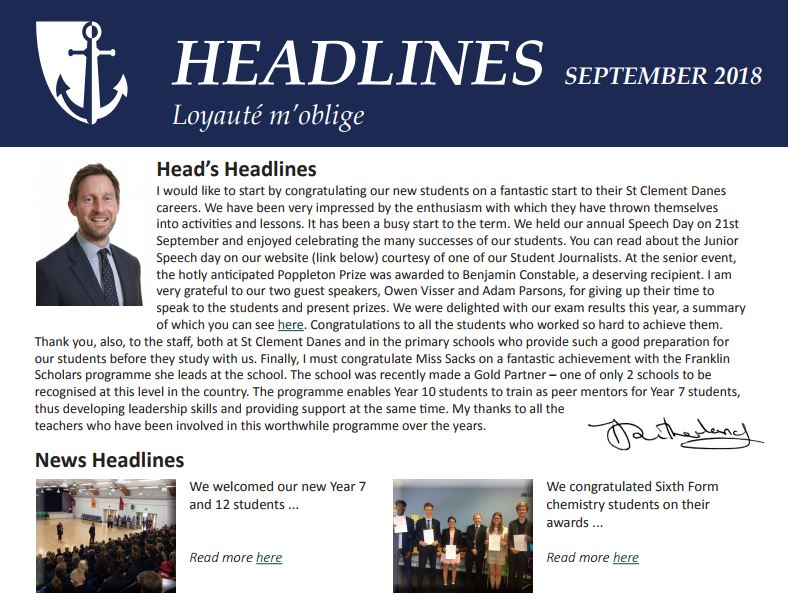 If you haven't yet caught up with the school's news from September, why not download Headlines - our monthly newsletter: https://t.co/A0chkfNav4 https://t.co/DsrjaE2kHO