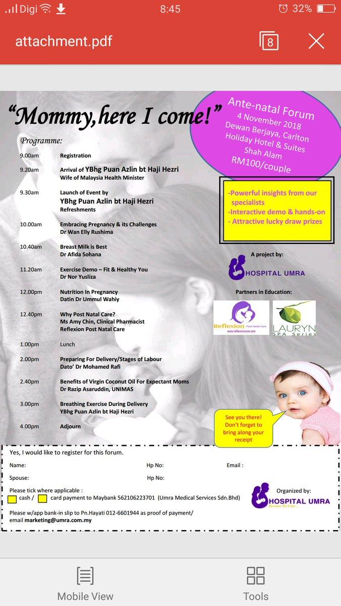 Ante natal forum 4/11, Dilancarkan oleh YBhg Puan Azlin Hj Hezri, isteri kepada Menteri Kesihatan Malaysia