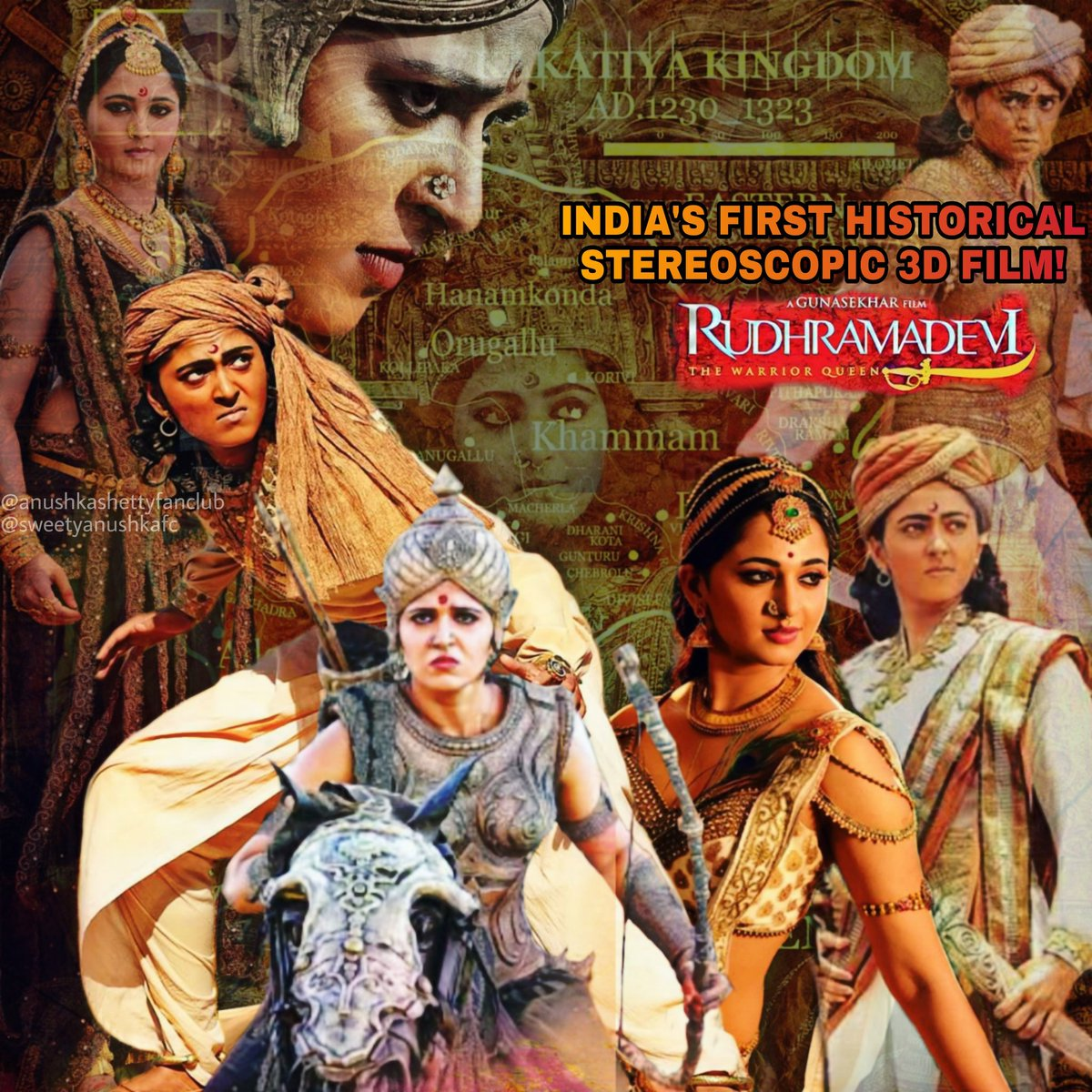 3 Years for Indias 1st Historical Stereoscopic 3D Film, Epic Drama, RUDHRAMADEVI!! Most of the movie, Anushka is shown as Rudhradeva, the Princess disguised as Prince; her performance is iconic and par excellence! Thank you @Gunasekhar1 garu & team #3YearsForAnushkaRudhramadevi