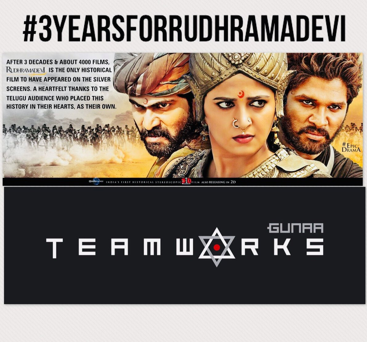 Oct 9th Marks 3 years for Rudhramadevi! We thank all the audiences and fans for their love!