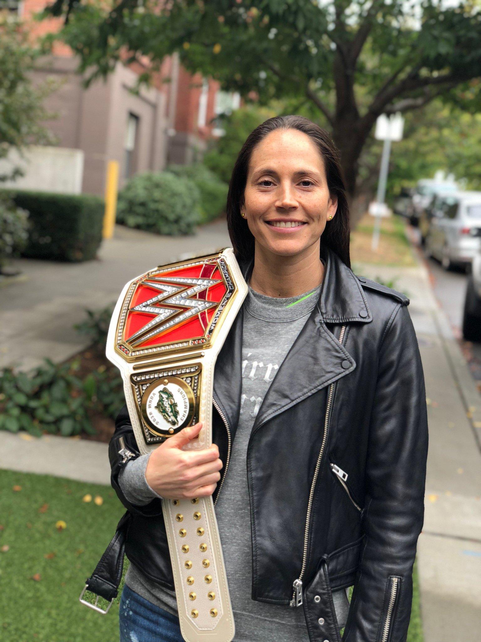 Your new @WWE champ... @S10Bird?! ��  @TripleH's custom @SeattleStorm #WNBAChamps belt has arrived in Seattle! �� https://t.co/aDLXSx1BKE