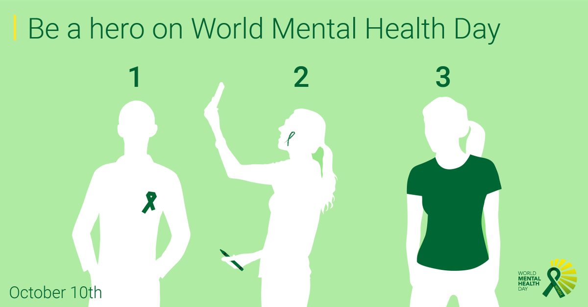Be A Hero On WorldMentalHealthDay By Doing One Of The Following Upload Photo Wearing Green Ribbon Draw Your Face Hand Arm For Selfie