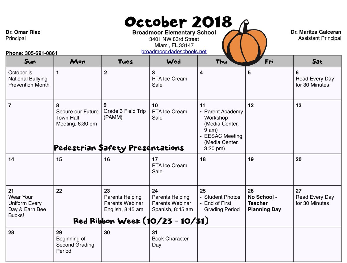 Broadmoorschool V Twitter Our October Calendar Is Now Available