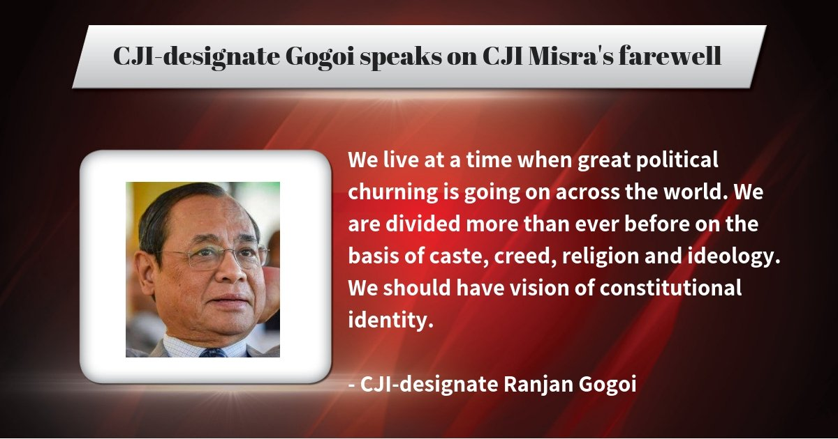 Justice #RanjanGogoi speaks on outgoing CJI #DipakMisra's farewell   Keep following our LIVE blog for more details:  http:// toi.in/_Kd87b    <br>http://pic.twitter.com/eBci78fxmB