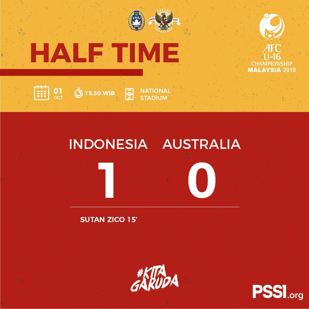 Setengah main, Timnas Indonesia U16 unggul 1-0 lewat gol Sutan Zico (twitter @pssi)