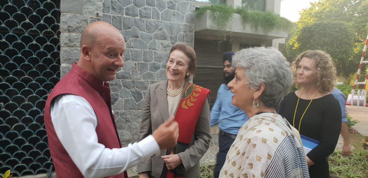 Yuri Afanasiev, @UNinIndia Resident Coordinator in conversation with Henrietta H. Fore, @unicefchief and @DrYasminAHaque, @UNICEFIndia Representative at the @UN house in #NewDelhi, #India   #UNSGInIndia 