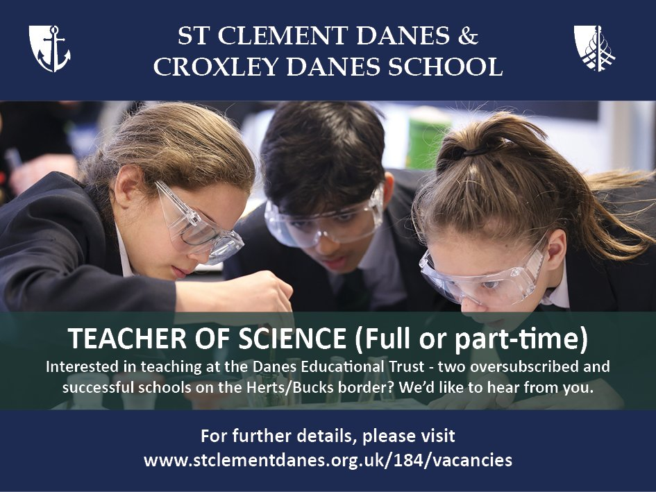 #teachingvacancyuk  Science Full time or Part time SouthEast Apply now: https://t.co/JguVcWBwsZ By: 10 Oct 2018 For: 1 Jan 2019 Come and join our team at an expanding Trust of two oversubscribed and successful schools on the Herts/Bucks border. https://t.co/JUjYTPrrWF