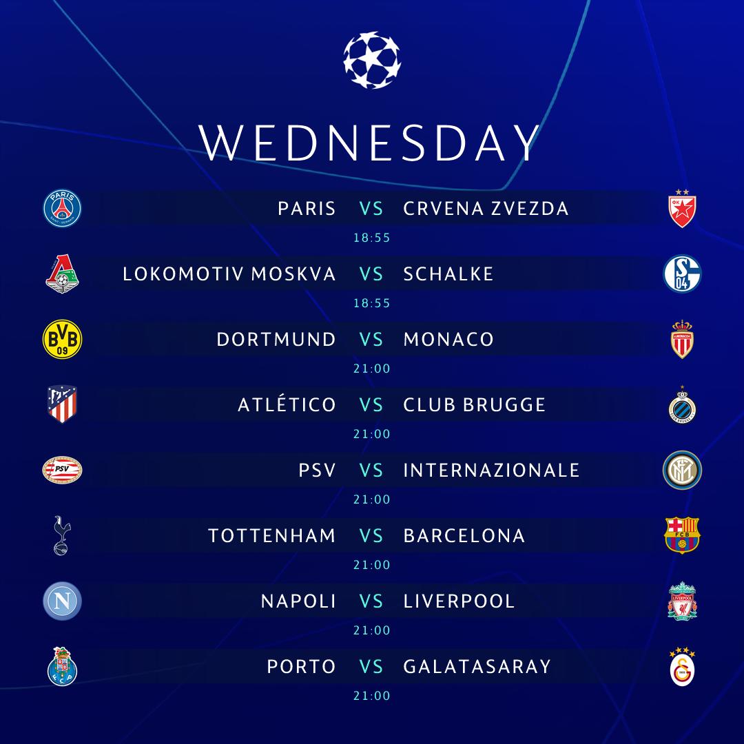 UEFA Champions League ChampionsLeague Twitter - Uefa champions league fixtures table
